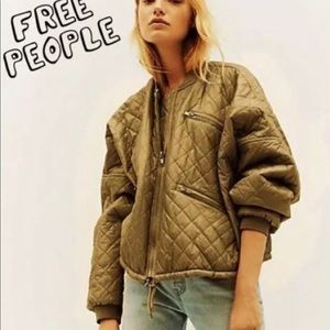 Free People Quilted Bomber Jacket Moss